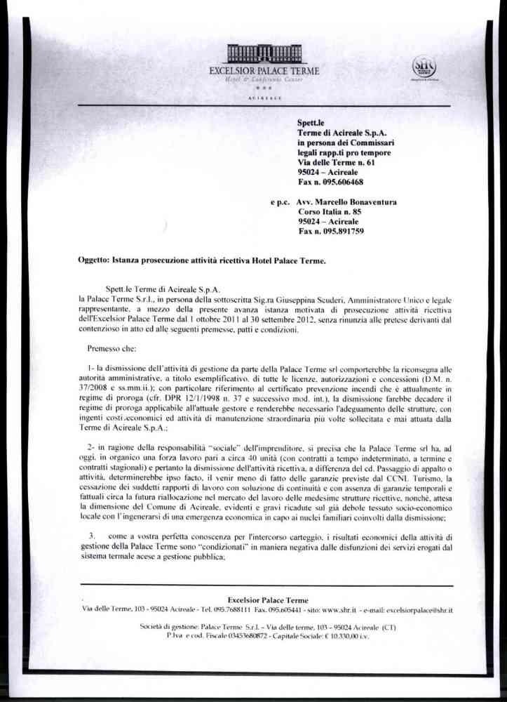 Le lettere della società di gestione dell'Excelsior Palace al Prefetto, alla Regione e ai liquidatori delle Terme (1/4)