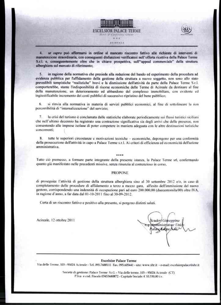 Le lettere della società di gestione dell'Excelsior Palace al Prefetto, alla Regione e ai liquidatori delle Terme (2/4)