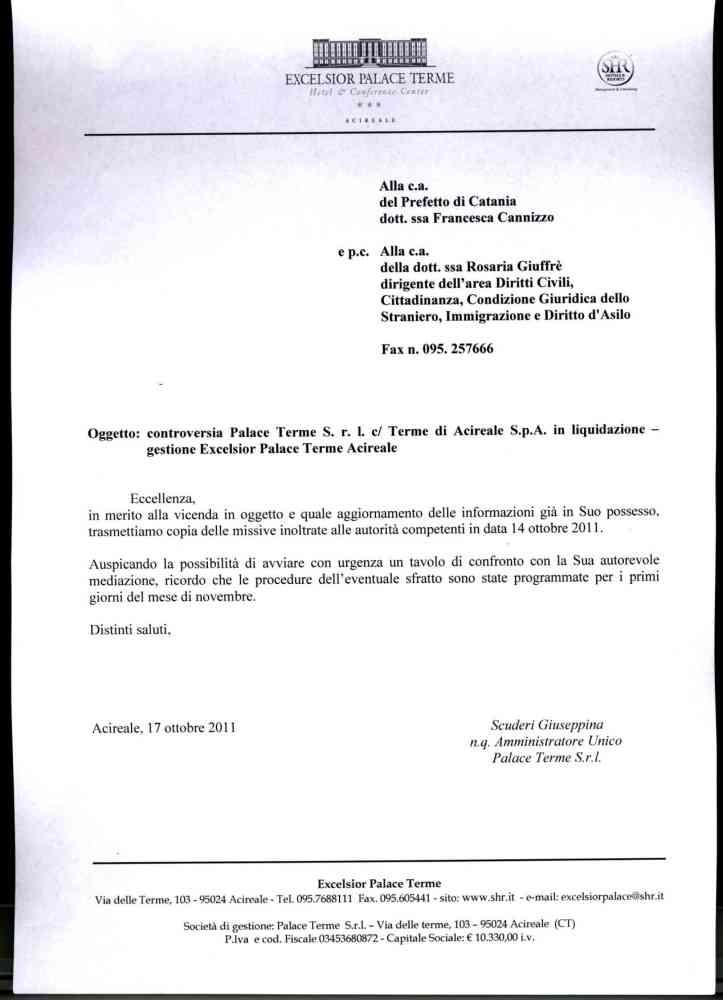 Le lettere della società di gestione dell'Excelsior Palace al Prefetto, alla Regione e ai liquidatori delle Terme (4/4)