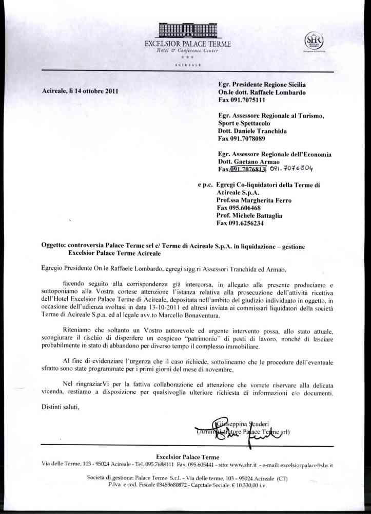 Le lettere della società di gestione dell'Excelsior Palace al Prefetto, alla Regione e ai liquidatori delle Terme (3/4)