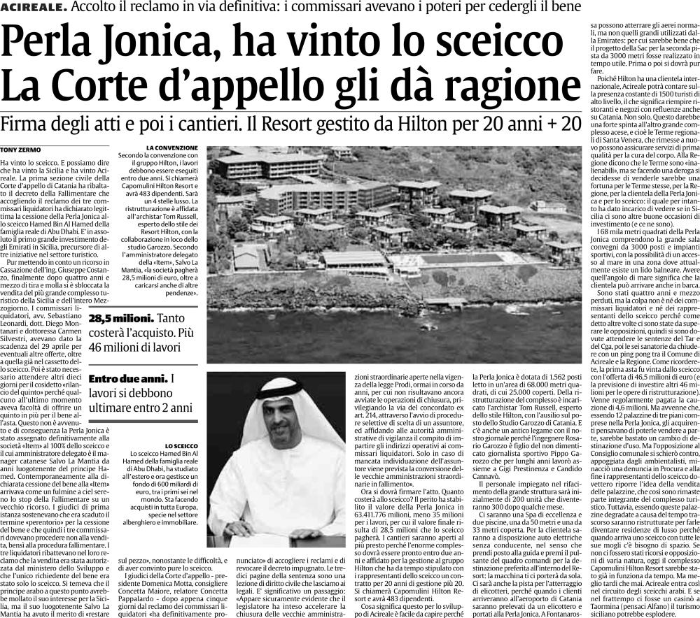 La Perla Jonica va al principe di Abu Dhabi (2/2)
