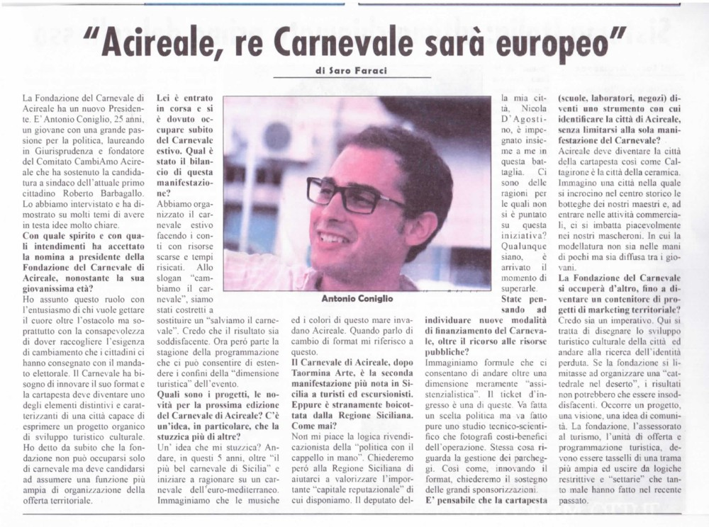 Acireale: al Carnevale una dimensione europea?