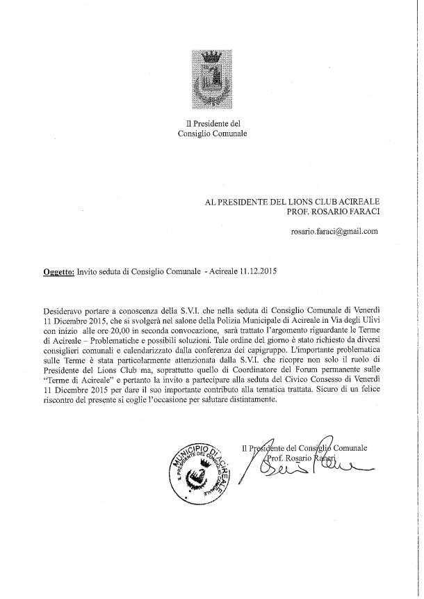 Invito seduta di Cosiglio Comunale - 11.12